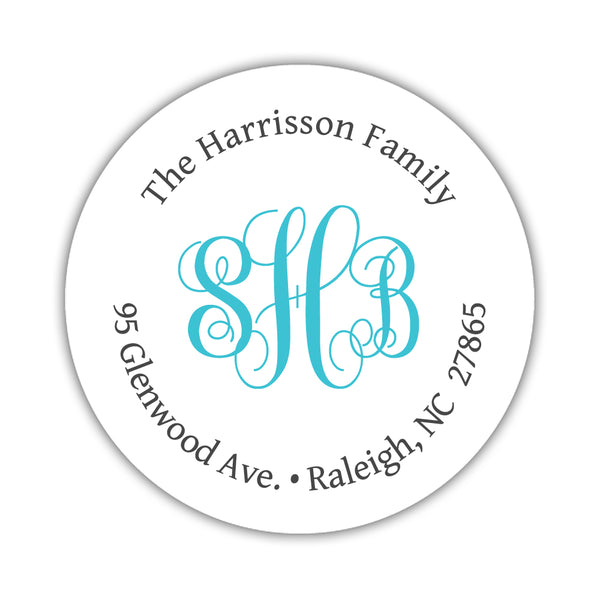Round return address labels 'Monogrammed Perfection' - Turquoise - Dazzling Daisies