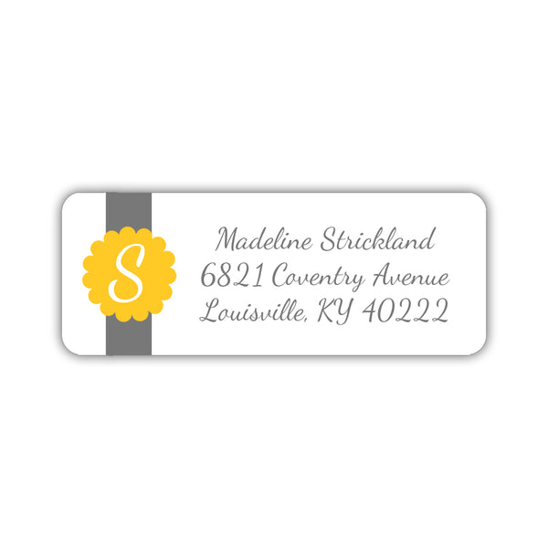 Return address labels 'Cigar Band' - Yellow - Dazzling Daisies