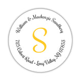 Round return address labels 'Whimsical Wish' - Yellow - Dazzling Daisies