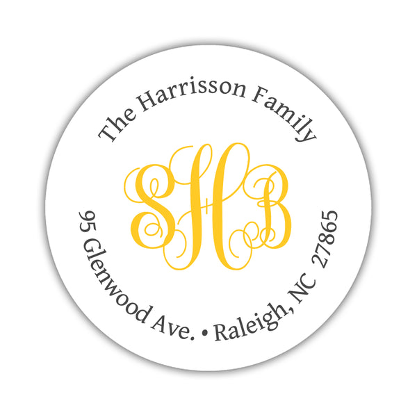 Round return address labels 'Monogrammed Perfection' - Yellow - Dazzling Daisies