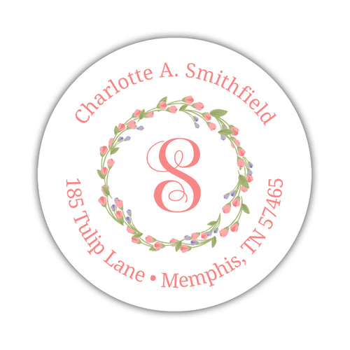 Round return address labels 'Floral Wreath' -  - Dazzling Daisies