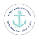 Round return address labels 'Anchor Focus' - Aquamarine - Dazzling Daisies