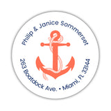 Round return address labels 'Anchor Focus' - Coral - Dazzling Daisies