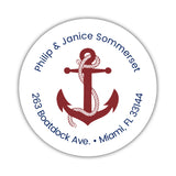 Round return address labels 'Anchor Focus' - Maroon - Dazzling Daisies