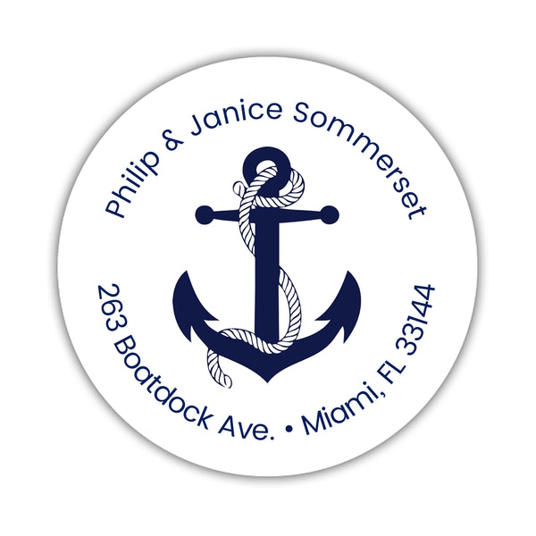 Round return address labels 'Anchor Focus' - Navy - Dazzling Daisies