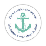 Round return address labels 'Anchor Focus' - Ocean - Dazzling Daisies