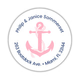 Round return address labels 'Anchor Focus' - Pink - Dazzling Daisies