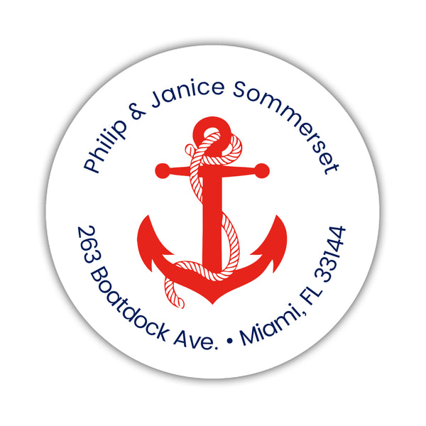 Round return address labels 'Anchor Focus' - Red - Dazzling Daisies