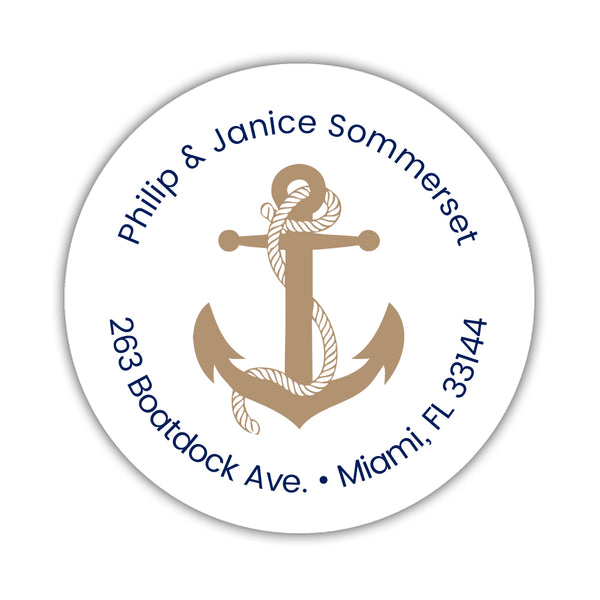 Round return address labels 'Anchor Focus' - Sand - Dazzling Daisies