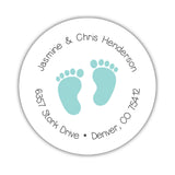 Round return address labels 'Baby Feet' - Aquamarine - Dazzling Daisies