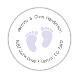 Round return address labels 'Baby Feet' - Lavender - Dazzling Daisies