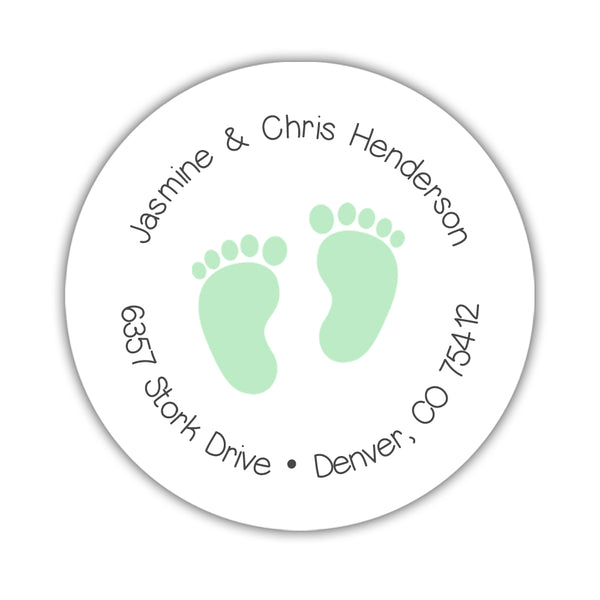 Round return address labels 'Baby Feet' - Mint - Dazzling Daisies