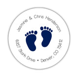 Round return address labels 'Baby Feet' - Navy - Dazzling Daisies