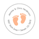 Round return address labels 'Baby Feet' - Peach - Dazzling Daisies