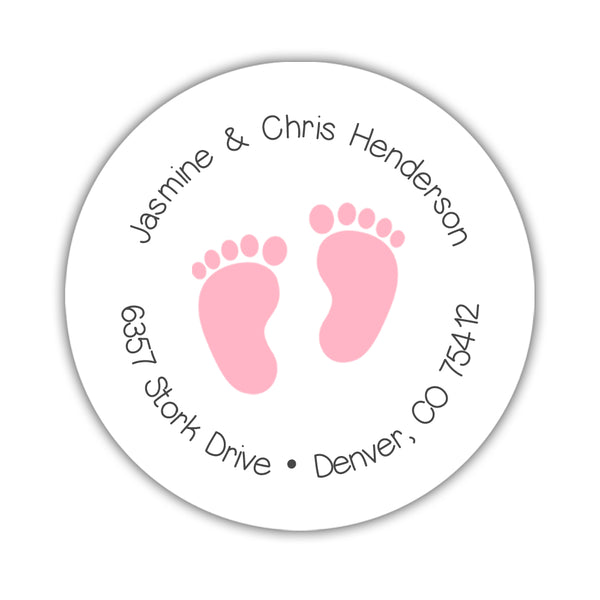 Round return address labels 'Baby Feet' - Pink - Dazzling Daisies