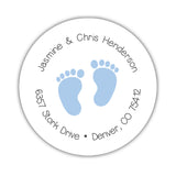 Round return address labels 'Baby Feet' - Steel blue - Dazzling Daisies