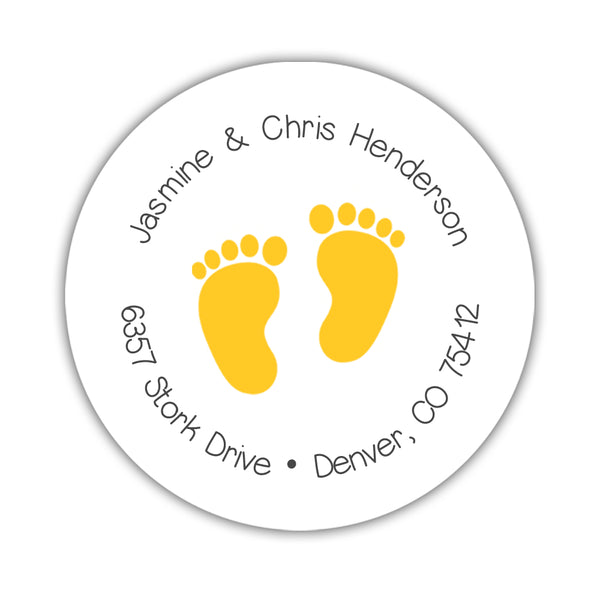 Round return address labels 'Baby Feet' - Yellow - Dazzling Daisies