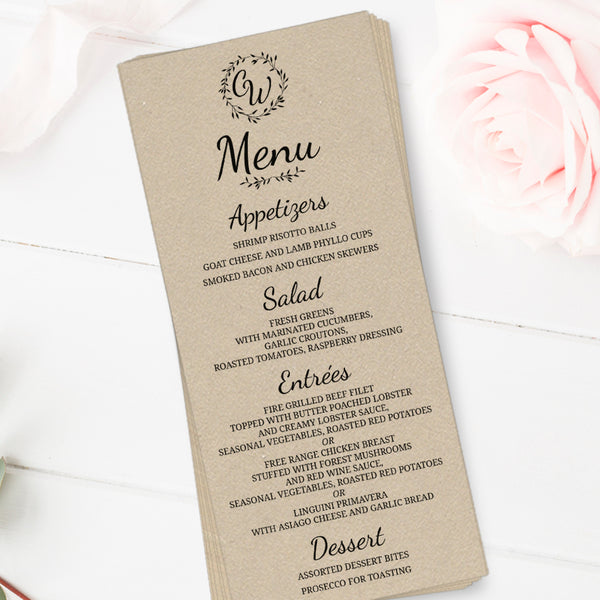 Rustic wedding menu cards -  - Dazzling Daisies