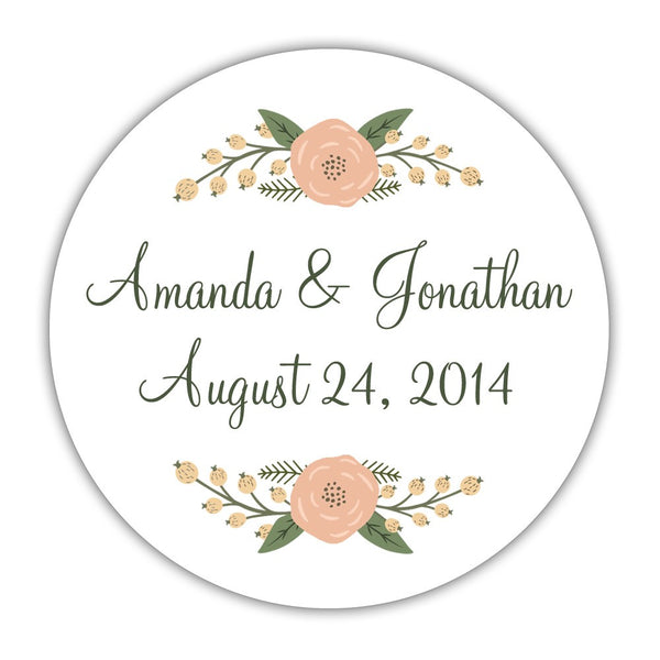 "Rustic favor stickers 'Peachy Flowers' - 1.5"" circle = 30 labels per sheet / Green - Dazzling Daisies"