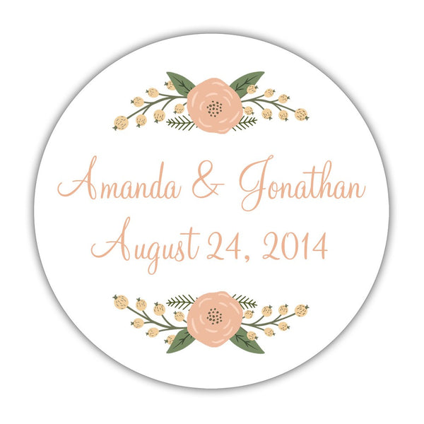 "Rustic favor stickers 'Peachy Flowers' - 1.5"" circle = 30 labels per sheet / Peach - Dazzling Daisies"