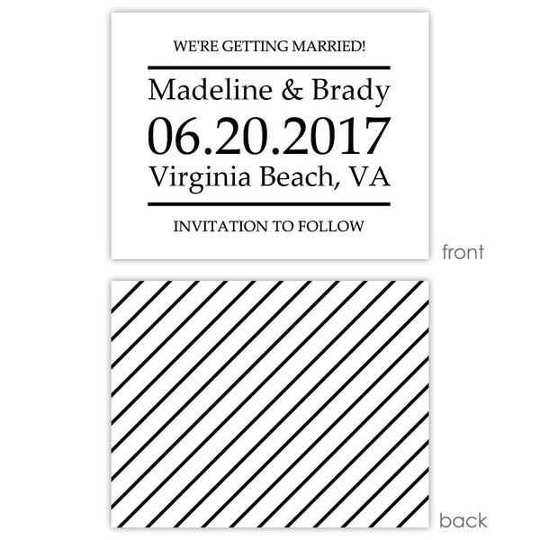 Save the date cards 'Classic Stripe' - Striped / Black - Dazzling Daisies