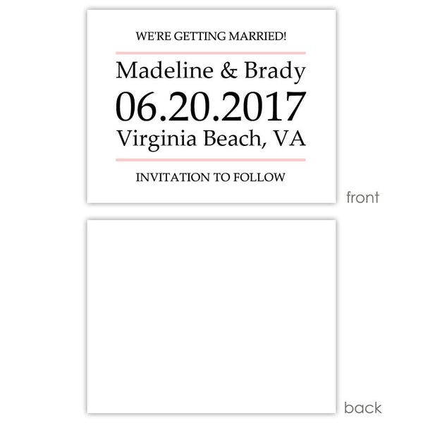 Save the date cards 'Classic Stripe' - Blank / Blush - Dazzling Daisies