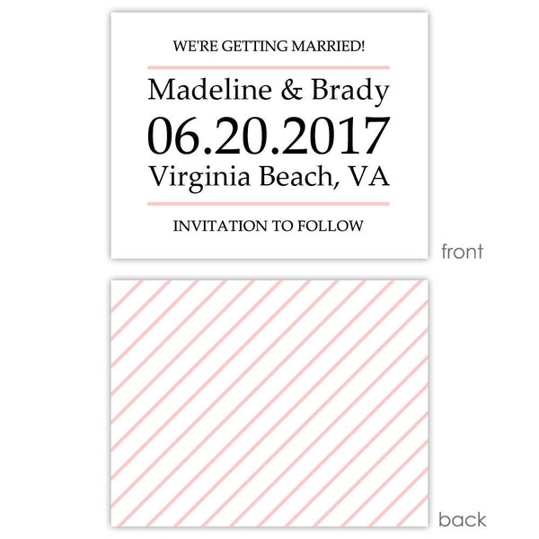 Save the date cards 'Classic Stripe' - Striped / Blush - Dazzling Daisies