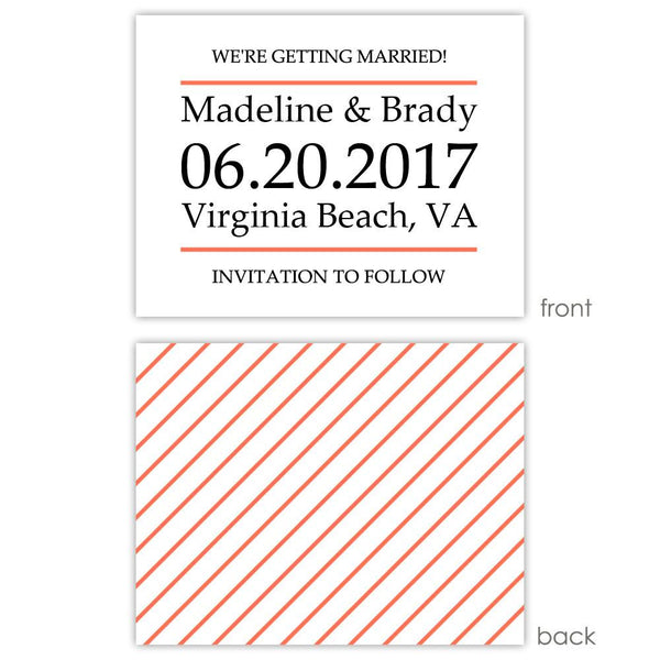Save the date cards 'Classic Stripe' - Striped / Coral - Dazzling Daisies
