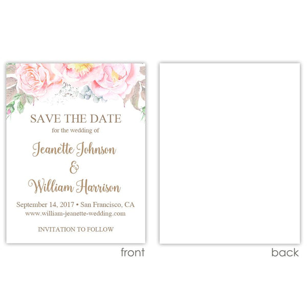 Save the date cards 'Floral Romance' - Blank / Sand - Dazzling Daisies