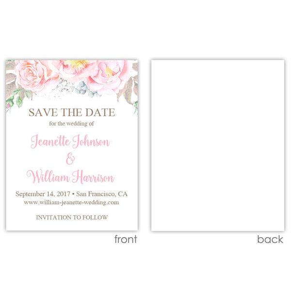 Save the date cards 'Floral Romance' - Blank / Pink - Dazzling Daisies