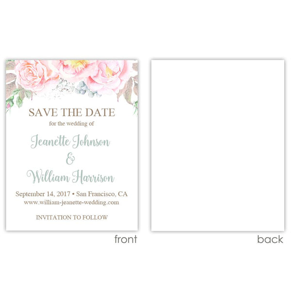 Save the date cards 'Floral Romance' - Blank / Sage - Dazzling Daisies