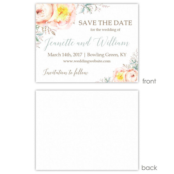 Save the date cards 'Watercolor Bouquet' - Blank / Sage - Dazzling Daisies