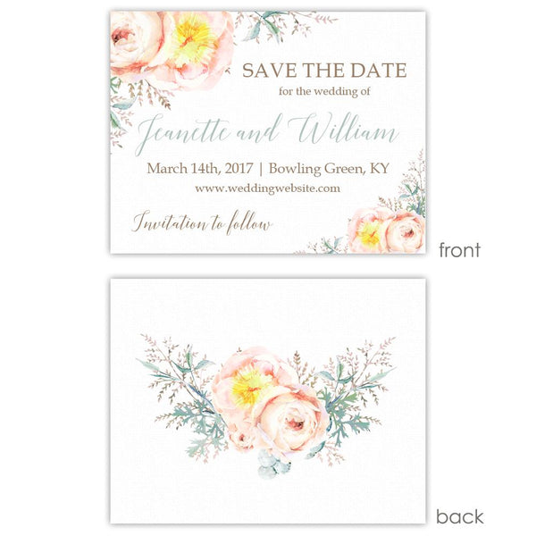 Save the date cards 'Watercolor Bouquet' - Printed / Sage - Dazzling Daisies