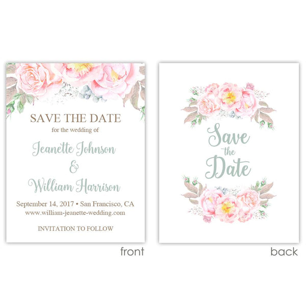 Save the date cards 'Floral Romance' - Printed / Sage - Dazzling Daisies