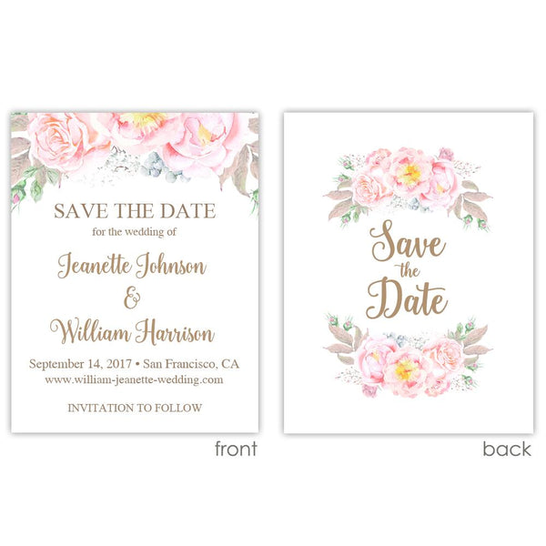 Save the date cards 'Floral Romance' - Printed / Sand - Dazzling Daisies