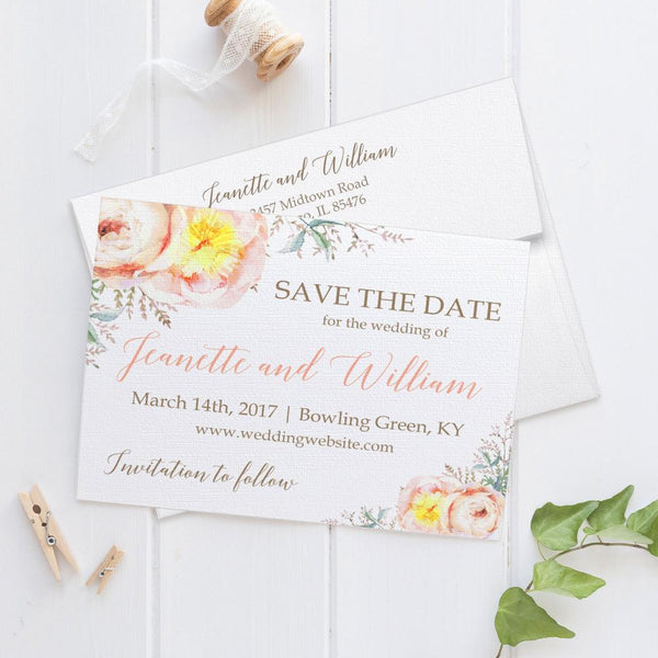 Save the date cards 'Watercolor Bouquet' -  - Dazzling Daisies