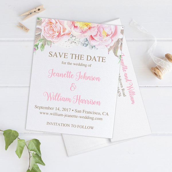 Save the date cards 'Floral Romance' -  - Dazzling Daisies