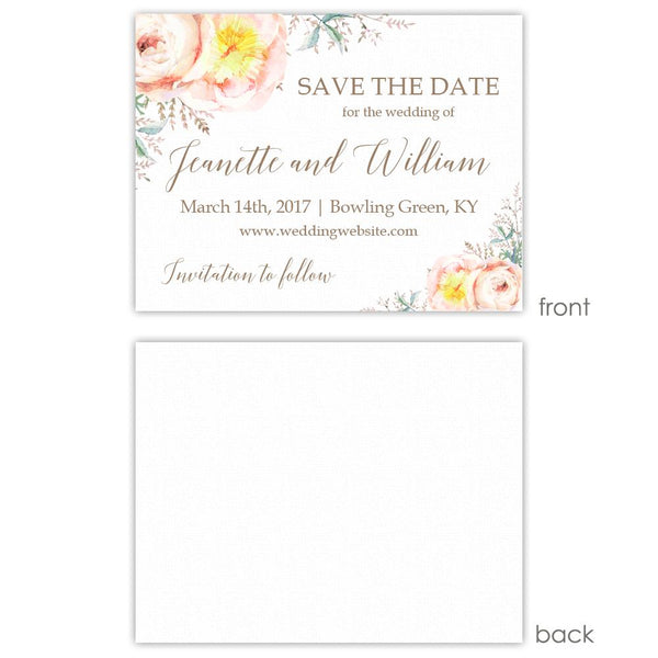 Save the date cards 'Watercolor Bouquet' - Blank / Taupe - Dazzling Daisies
