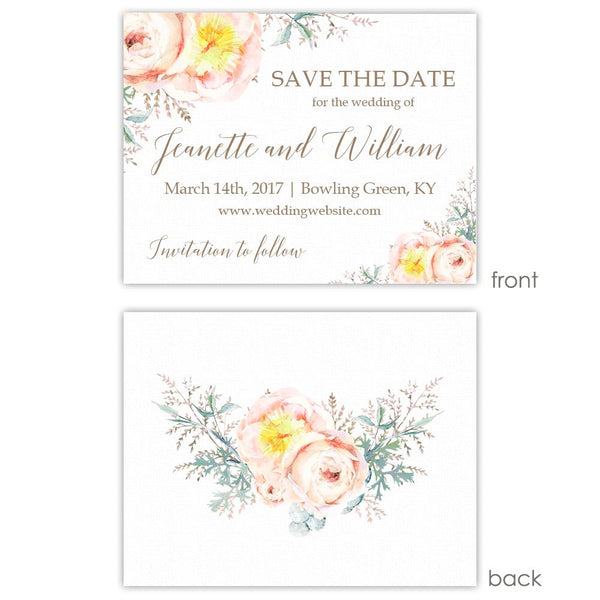 Save the date cards 'Watercolor Bouquet' - Printed / Taupe - Dazzling Daisies