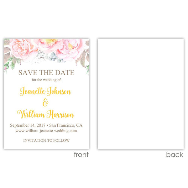 Save the date cards 'Floral Romance' - Blank / Yellow - Dazzling Daisies