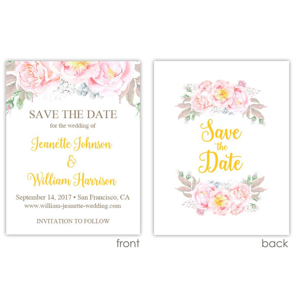 Save the date cards 'Floral Romance' - Printed / Yellow - Dazzling Daisies