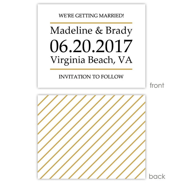 Save the date cards 'Classic Stripe' - Striped / Gold - Dazzling Daisies