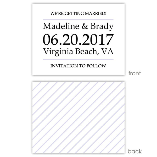 Save the date cards 'Classic Stripe' - Striped / Lavender - Dazzling Daisies