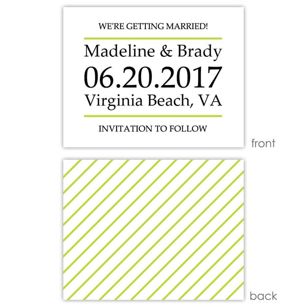 Save the date cards 'Classic Stripe' - Striped / Lime - Dazzling Daisies