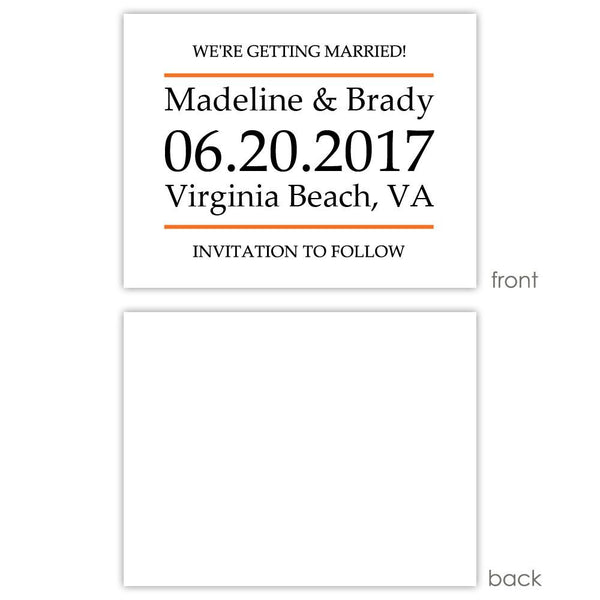 Save the date cards 'Classic Stripe' - Blank / Orange - Dazzling Daisies