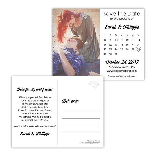 Save the date postcards 'Modern Romance' - Black - Dazzling Daisies