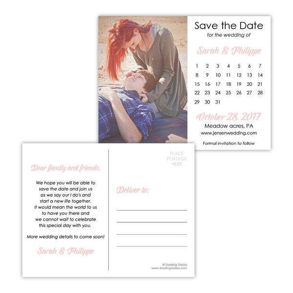 Save the date postcards 'Modern Romance' - Blush - Dazzling Daisies