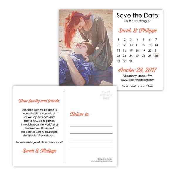 Save the date postcards 'Modern Romance' - Coral - Dazzling Daisies