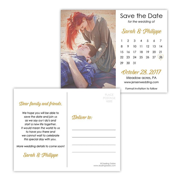 Save the date postcards 'Modern Romance' - Gold - Dazzling Daisies