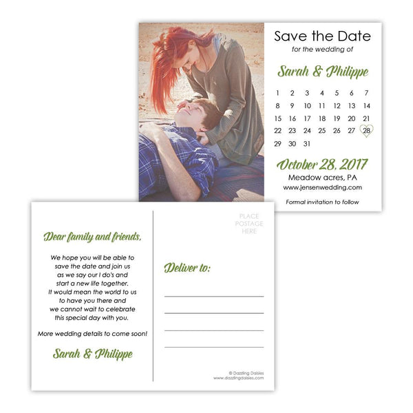 Save the date postcards 'Modern Romance' - Olive - Dazzling Daisies
